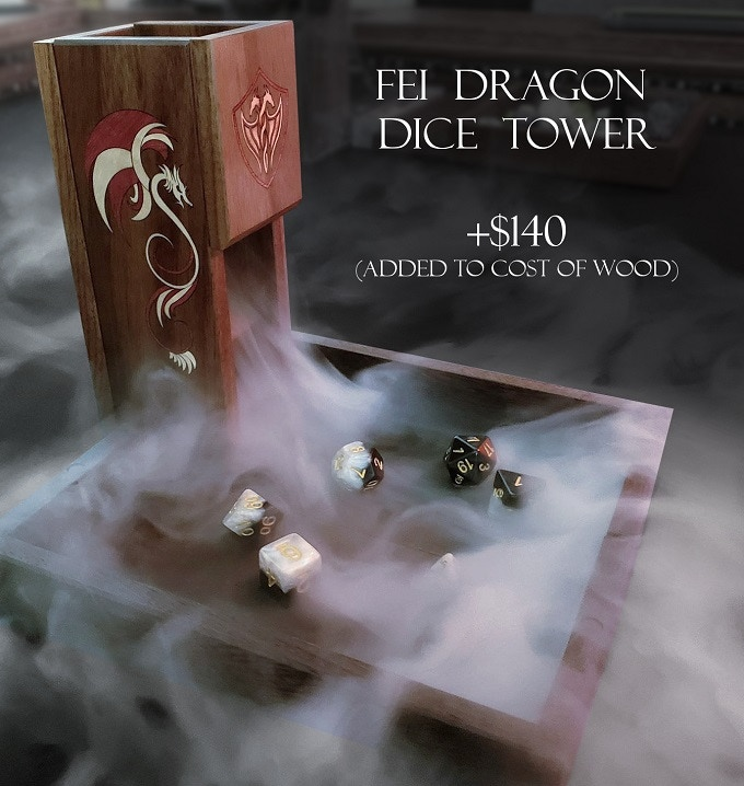 Fei Dragon Dice Tower (yes, the logo will be inlay too!)