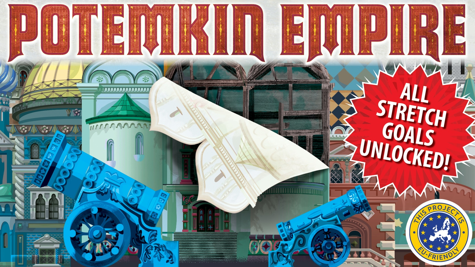 Potemkin Empire is a strategic city building, bluffing game for 3-5 players that plays in 45 minutes.