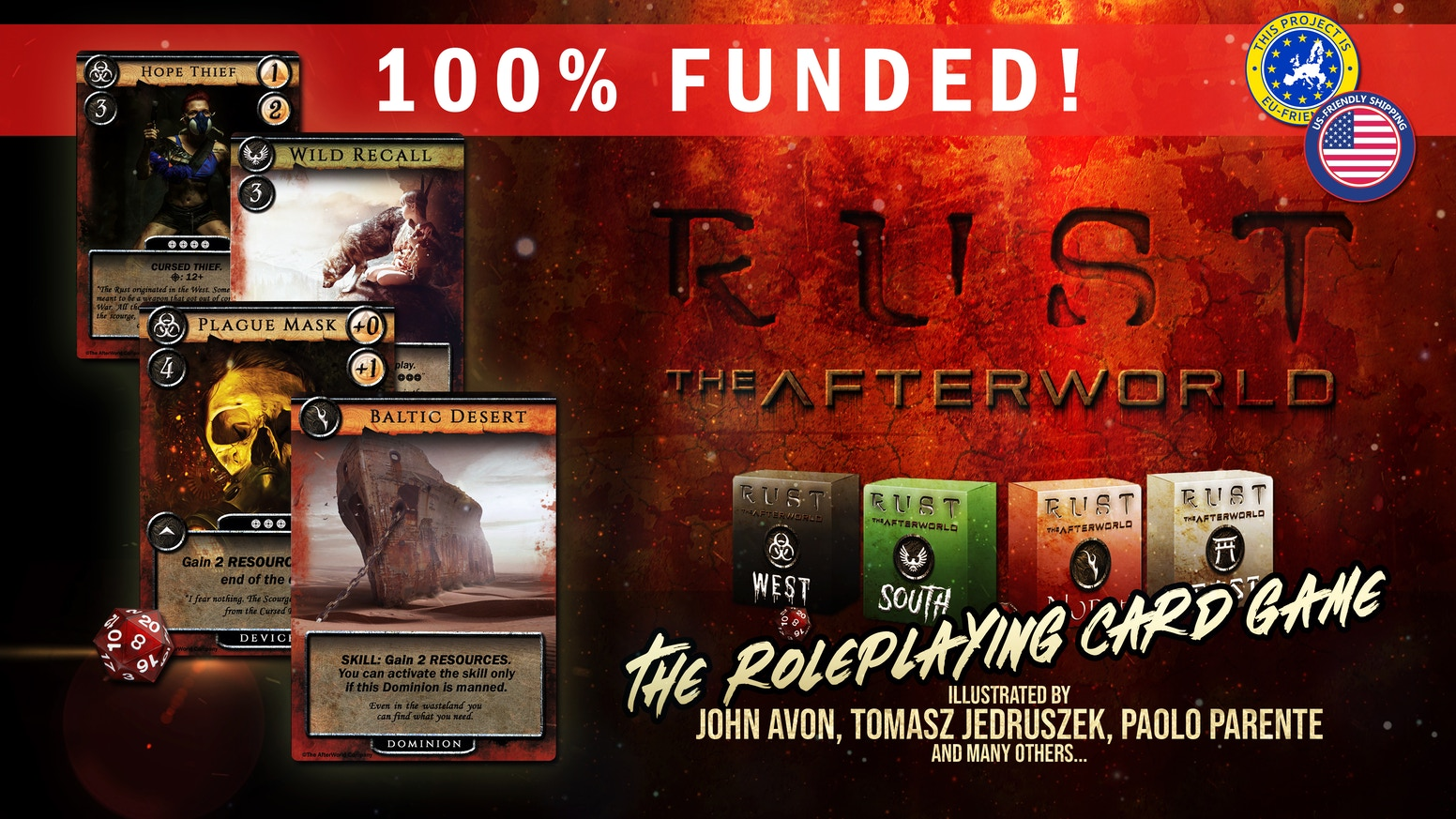 "The synthesis of roleplaying and card games, into an innovative game system about survival.  And you can carry it in your pocket! Click on the ""Late Pledge"" button to put your hands on the first edition ever of RUST : THE AFTERWORLD..."