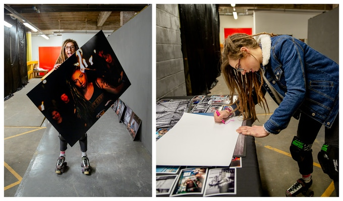 Georgie (''Girl with a torch'') signing copies of the photo and posing with the largest print