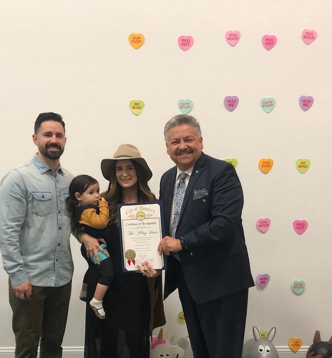 Daniel, Sienna & Claudia with Downey Mayor, Rick Rodriguez