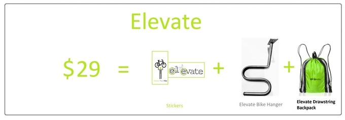 1 x Elevate Bike Hanger, & Stickers & Drawstring backpack. US & Canada Shipping is $12 CAD. International Shipping is based on location and VAT fees