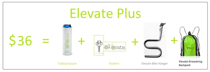 1 x Elevate Bike Hanger, 1 x Tallboy Koozie at 50% off, & Stickers & Drawstring backpack. US & Canada Shipping is $12 CAD. International Shipping is based on location and VAT fees.