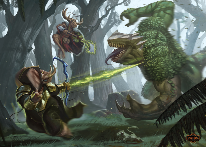 A Tuskaar Ranger and a Cenzai Shaman running from an angry Forest Mogdun