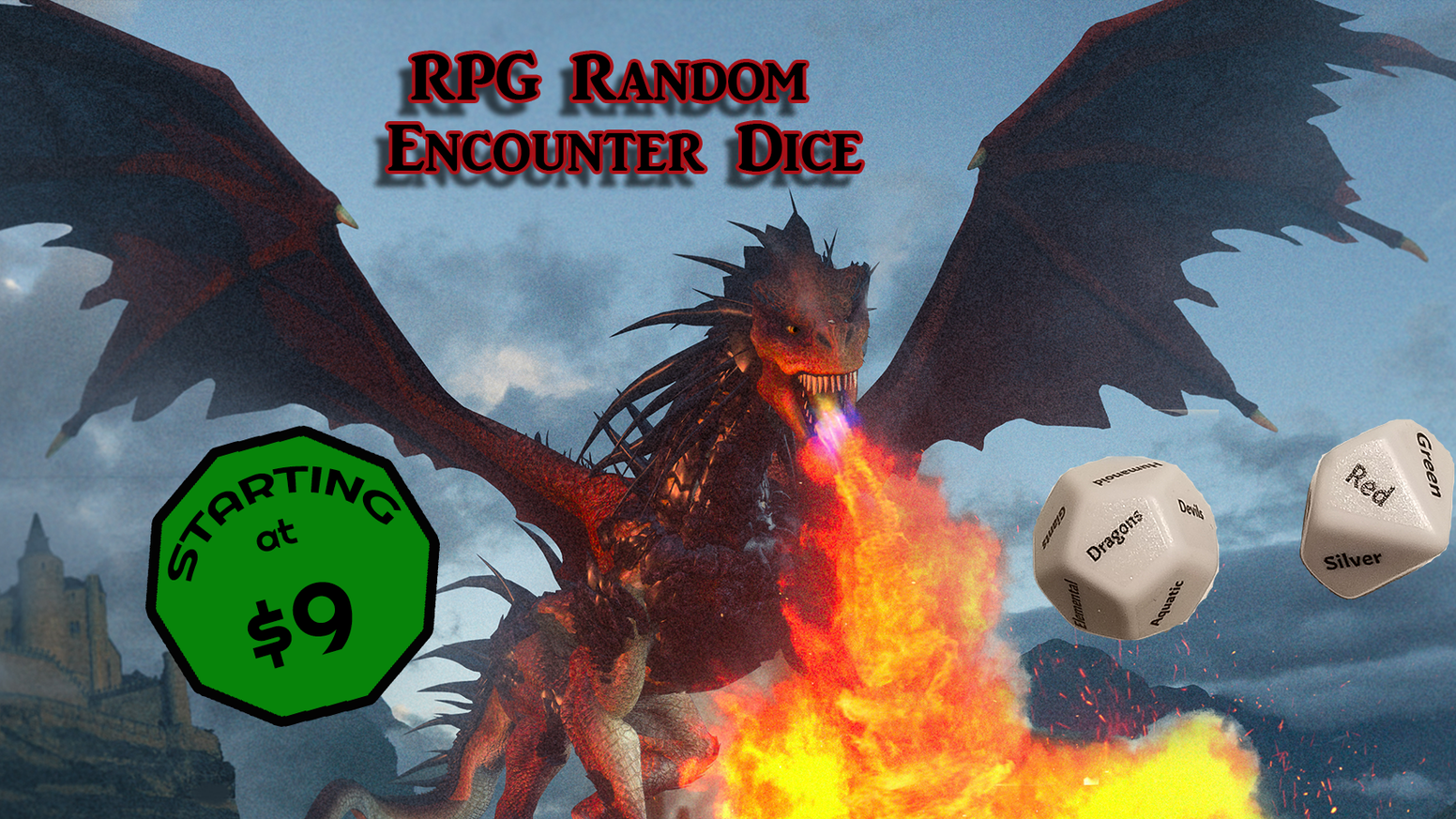 Easy to use Random Encounter Dice for your Fantasy RPG game. Usable with 5E, PF, B/X, S&W, 1E/2E, DCC and more.