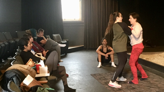 Winter working with fight director Ava Kostia at Salt Lake Acting Company workshop.