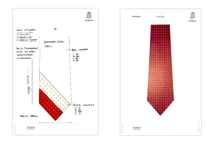 First step: Sketch of the tie and tasting of colormatching.  Second step: Make the pattern on Illustrator.