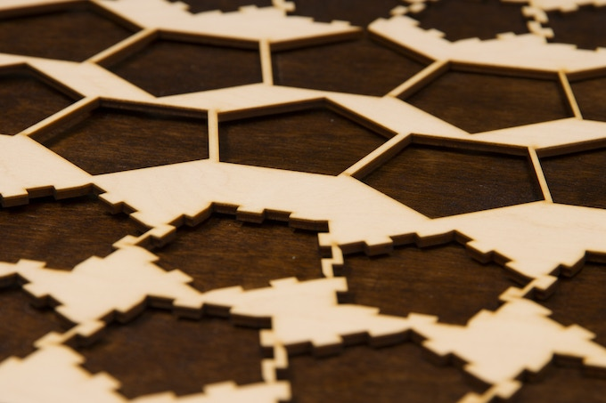Laser cut stencil atop the outer layer board.