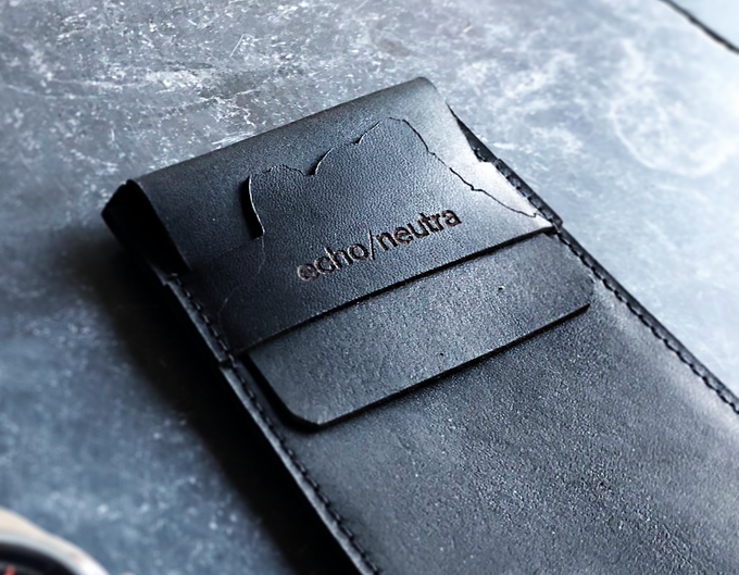 A detail of the Rifugio Watch Wallet