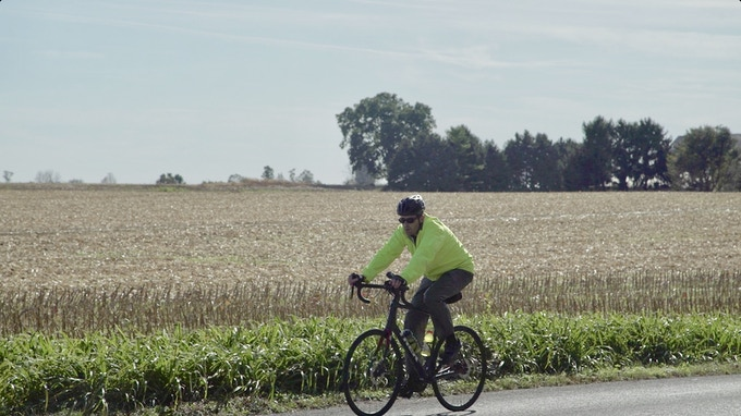 riding along the corn fields of Indiana