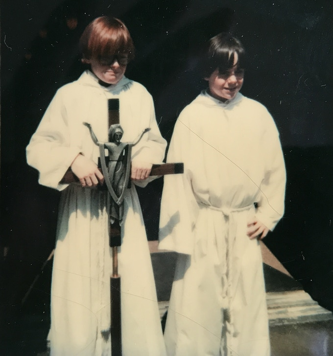 Dave and brother, Brad, as altar boys