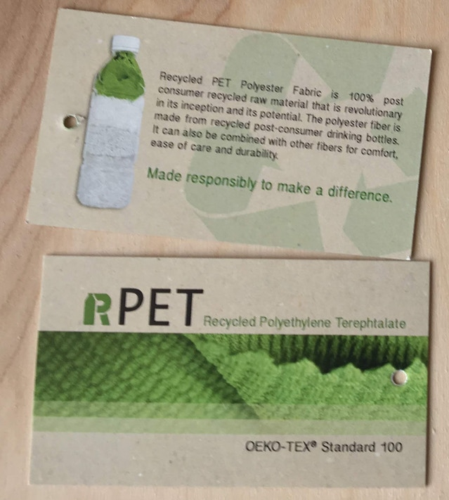 Recycled PET tags used for our Poly Anna tees