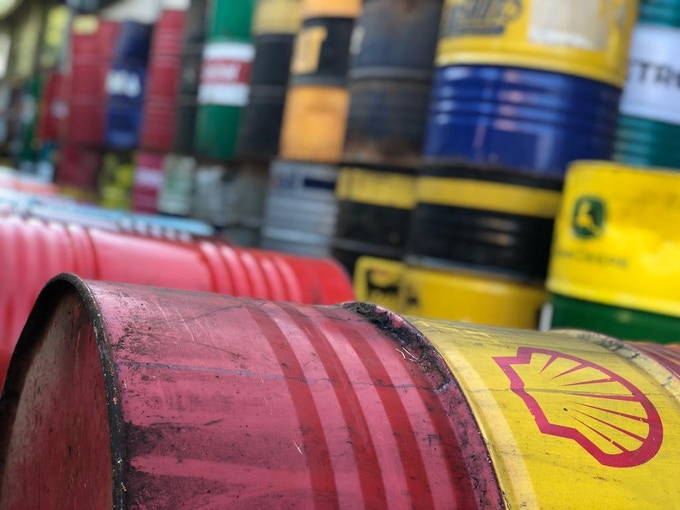 Raw material: colorful barrels