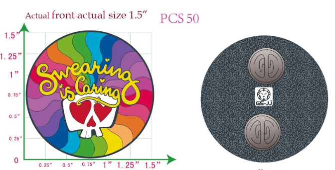 """The words """"Swearing is Caring"""" and the white and red of the skull will be glittery. The rest of the pin will be matte.)"""