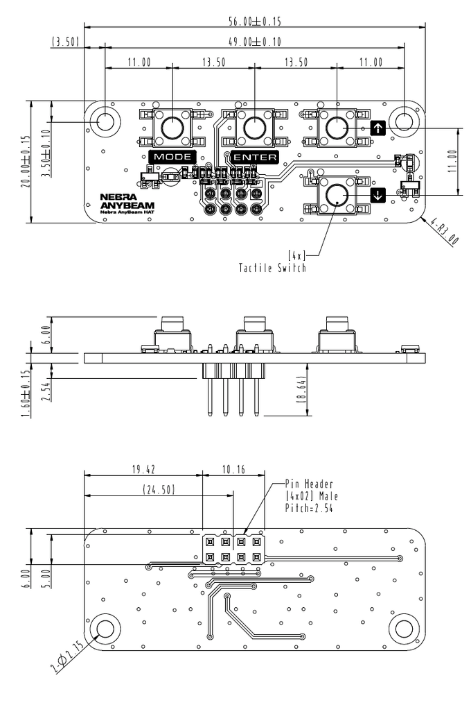 AnyBeam HAT Control Board Design Drawing