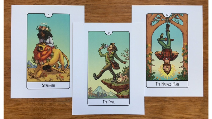 Prints from Left to Right: Strength, The Fool, The Hanged Man
