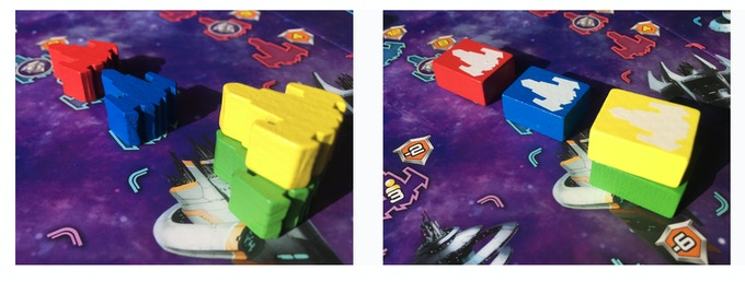 Comparison of ships in deluxe (left) and basic (right) versions of Cosmic Run: Regeneration