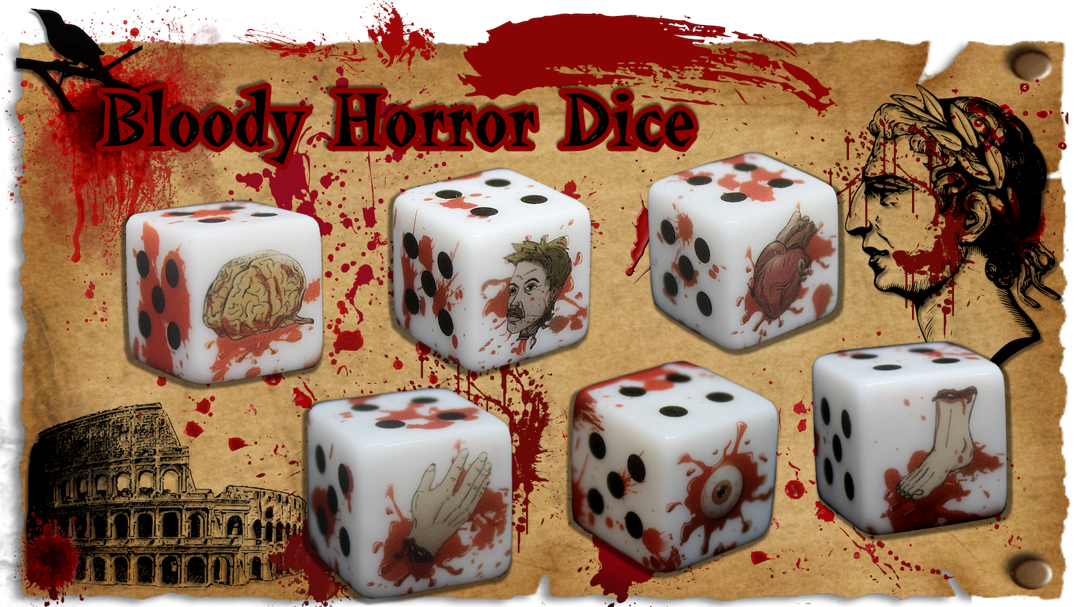 Novelty dice covered in blood and body parts! For Dungeons and Dragons, tabletop, wargaming, board games,collections, zombies and more!