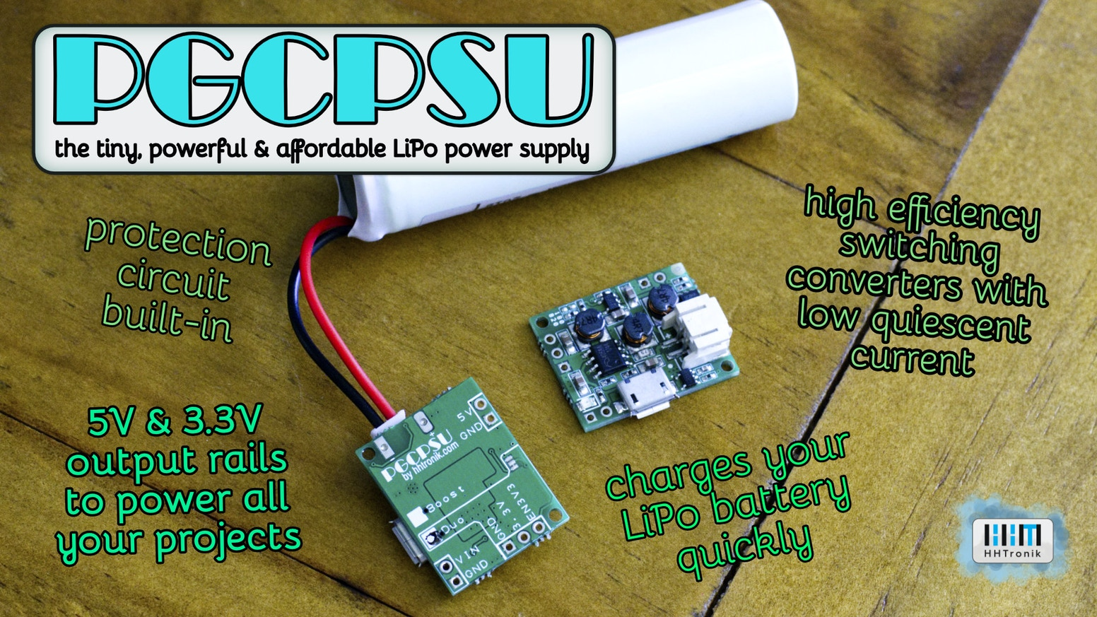 Pretty Good Cheap Power Supply Unit - PGCPSU. Get the best tiny power supply for your battery powered projects!