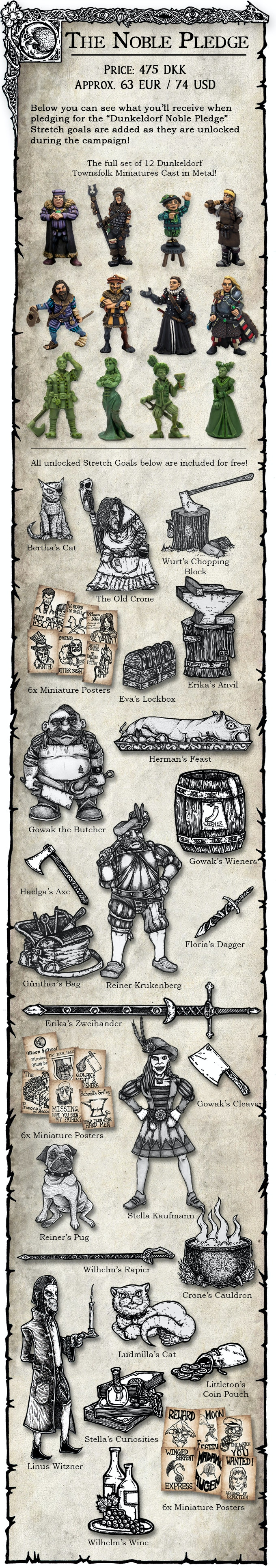 Miniatures supplied in metal, they come unpainted and may require assembly and cleaning. Certain accessories may be cast in resin!