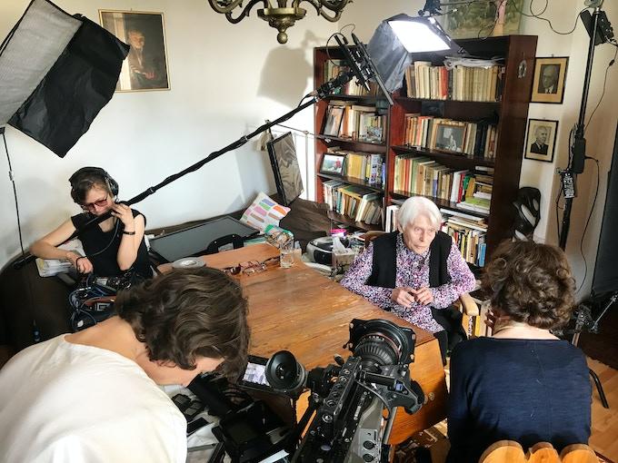 Interviewing survivor Joanna Muskowska-Penson at her home in Sopot, Poland.