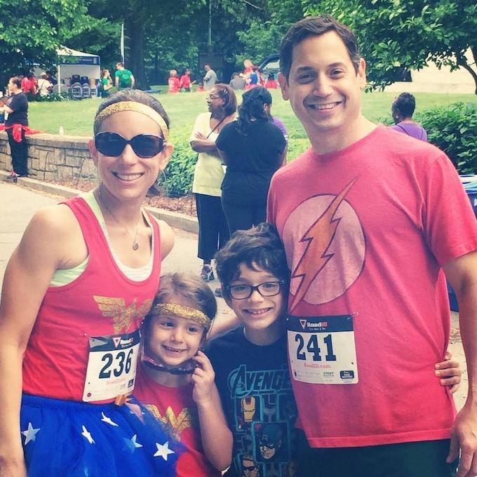 Blair and her family at a Superhero Run