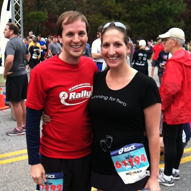 """Kate and her husband, when she was """"running for two"""""""
