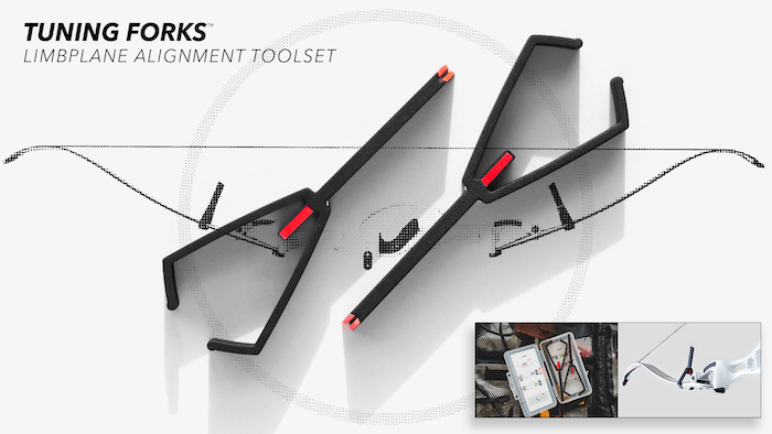 The first archery toolset of its kind, Tuning Forks reveal your recurve's optimal alignment in 3D. Get it right—without the hassle. Thanks to all the backers for a successful campain!