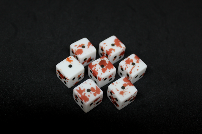 Every type of dice has a different blood splatter pattern for a total of 7 different patterns.