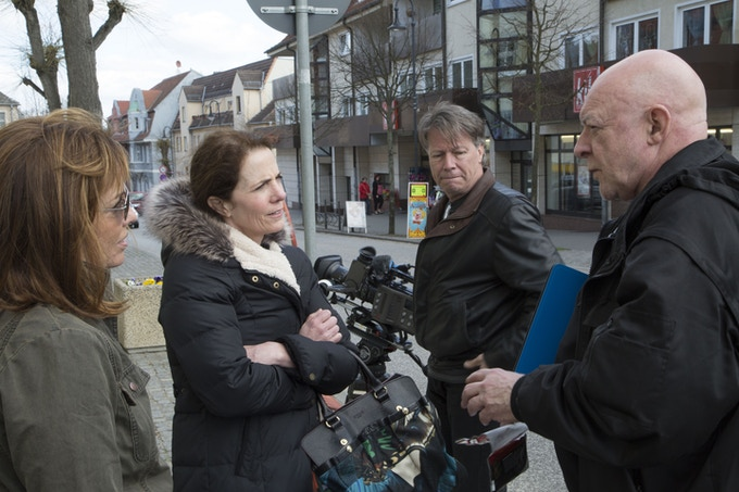 Director Stacey Fitzgerald, author of Lilac Girls Martha Hall Kelly, Director of Photography Bruce Lane, and Field Producer Gavin Hodge in Germany, 2015.