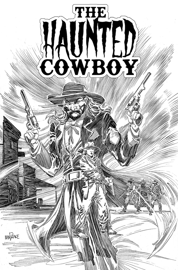 The finished version of the cover to The Haunted Cowboy. Art by Tom Mandrake.