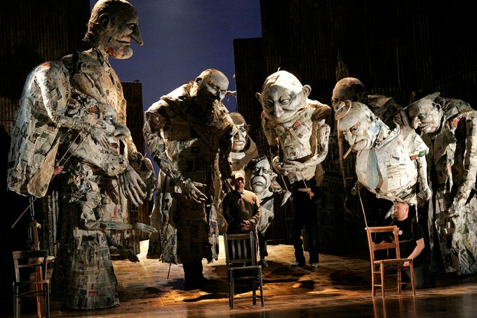 Puppetry in the rehearsal room for Satyagraha at English National Opera. Photo: Keith Pattinson.