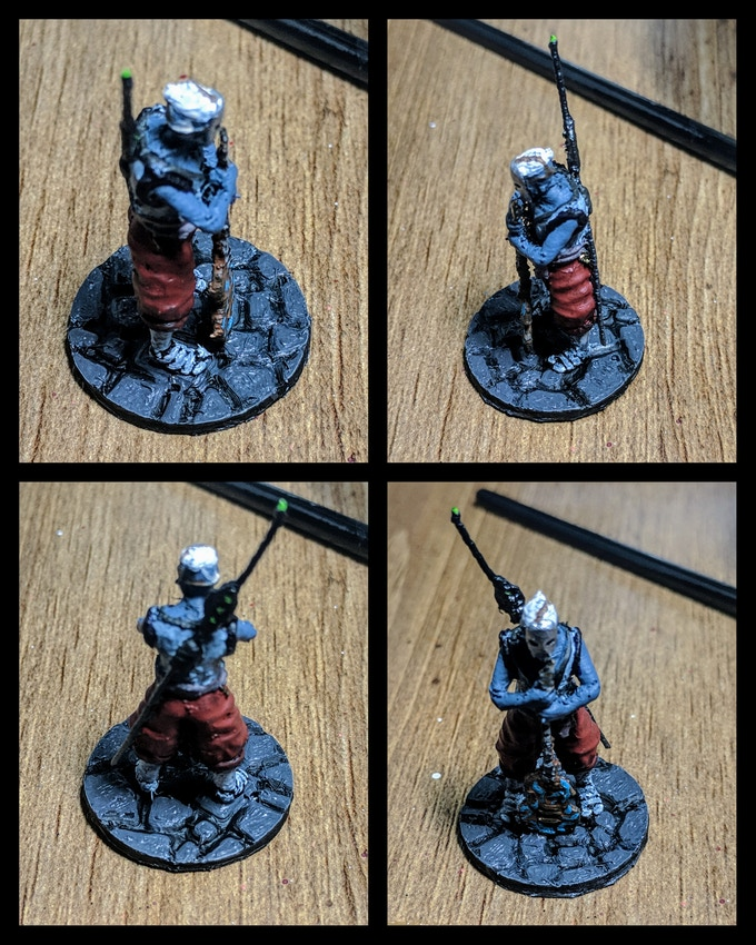 The bard, Painted as a drow from Dungeons and Dragons. This test print is in PLA Filament, but if we reach this point in the stretch goals this will be a resin model.