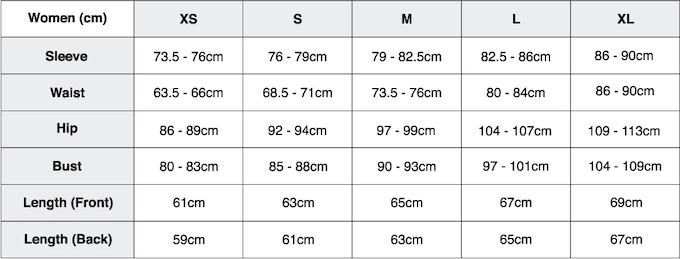 Size Chart- Women (cm)