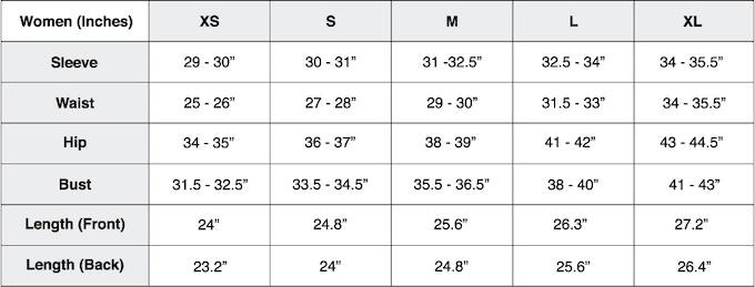 Size Chart- Men (cm)