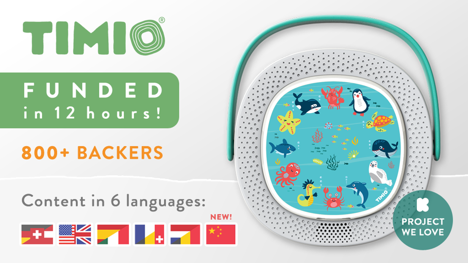 A screen-free audio and music player with a fun, educational and interactive content library that kids can unlock using magnetic discs.
