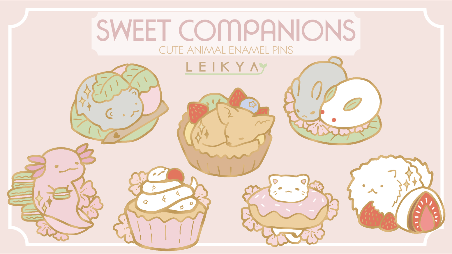 A set of adorable animal enamel pins with sweet treats! UPDATE: If you missed the kickstarter you can buy these pins through the link below!