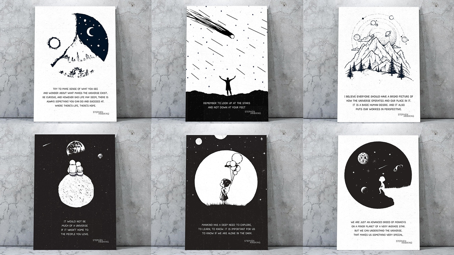 c6671d728 A collection of wall art prints inspired by Stephen Hawking's quotable  wisdom for everyday inspiration.