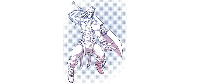 The swordsman Isamu - one of the new iconic characters featured in the interior art