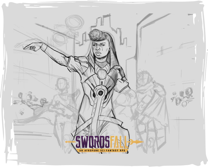 An early concept sketch of the Minos - Art by T'umo Mere