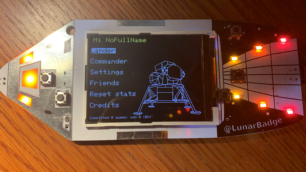 LunarLanderBadge: indie badge for def con 27 project video thumbnail