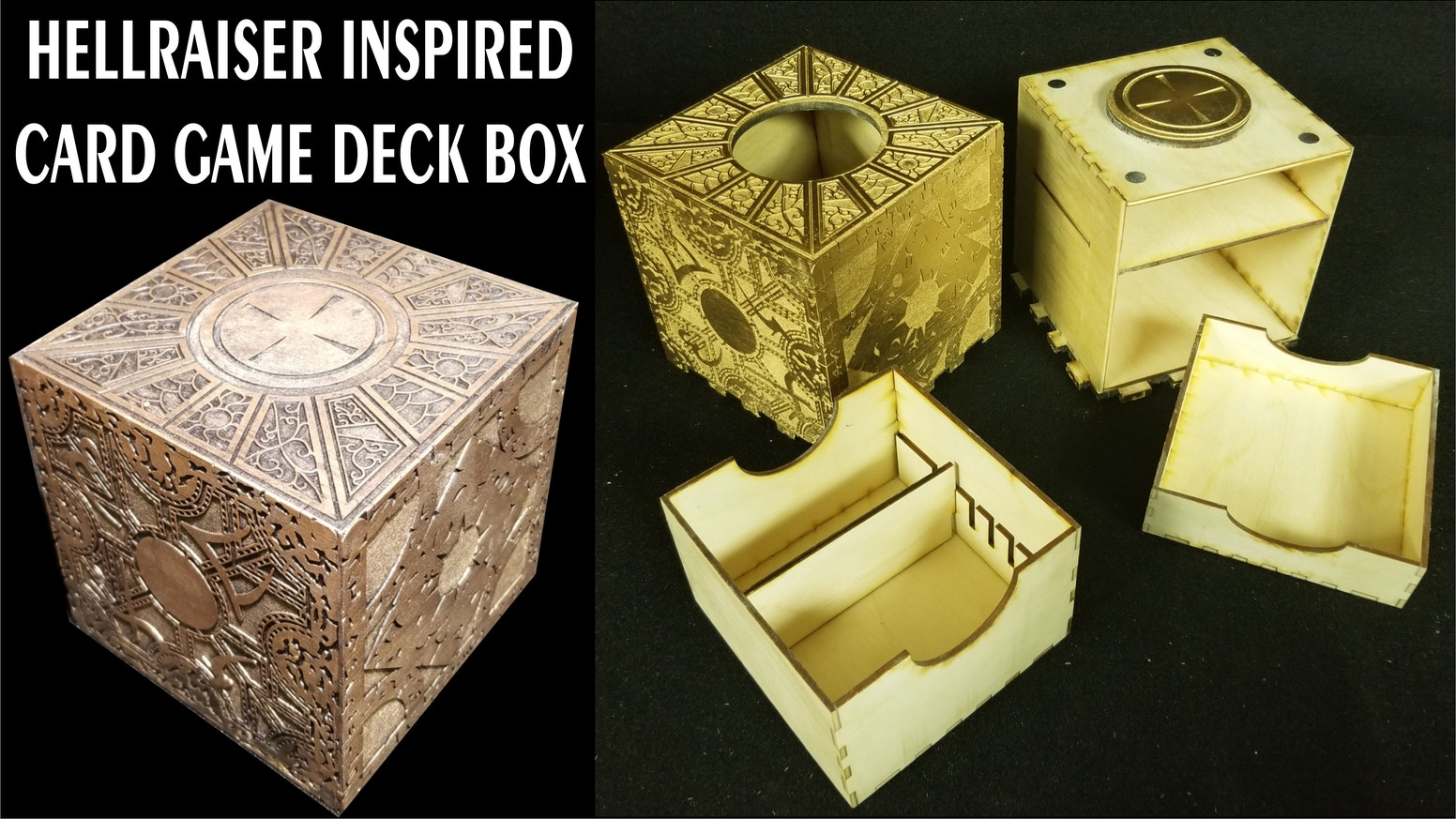 Hellraiser Inspired Boxes / Deck Boxes / Functional Puzzle Boxes / Decorative Boxes / MTG Commander Boxes / Storage Boxes / Wood Boxes