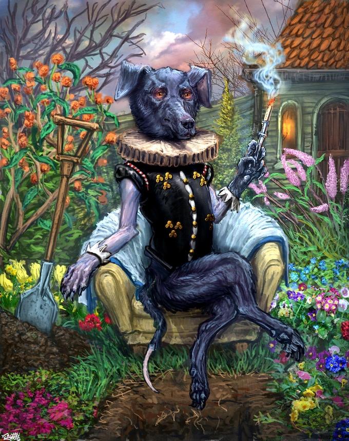Suave smoking dog