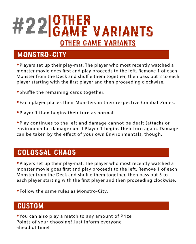 Want other gameplay options? Try these monstrous variants!