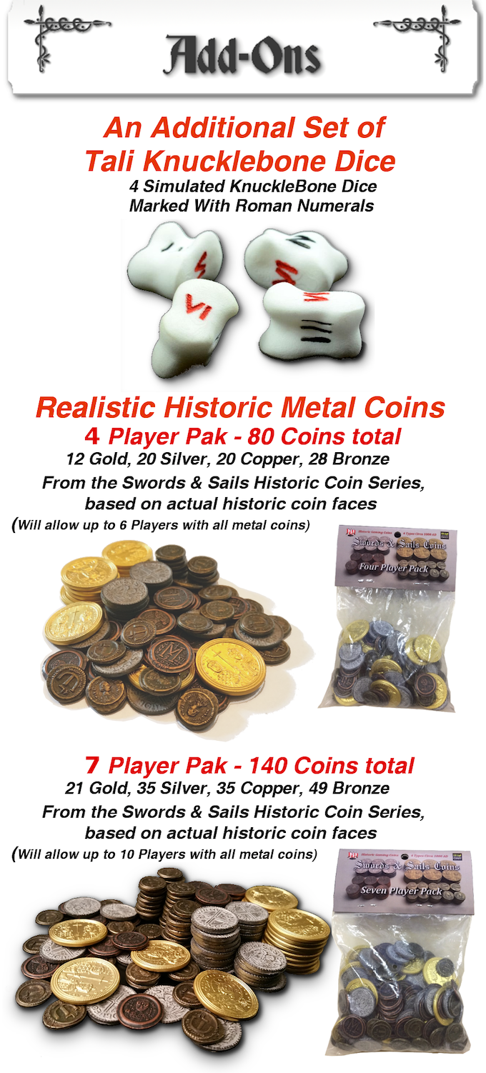 Tali - Roman Knucklebones, Metal Coins, and 2 Games in One by Jason