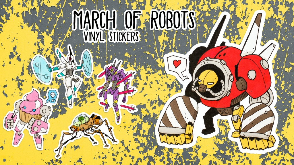 March Of Robots vinyl sticker set