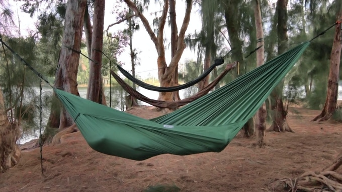 The Fabric Tensioning System creates folds in the hammock giving it a unique shape when it's in use