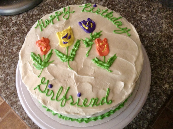 Butter cake with buttercream icing