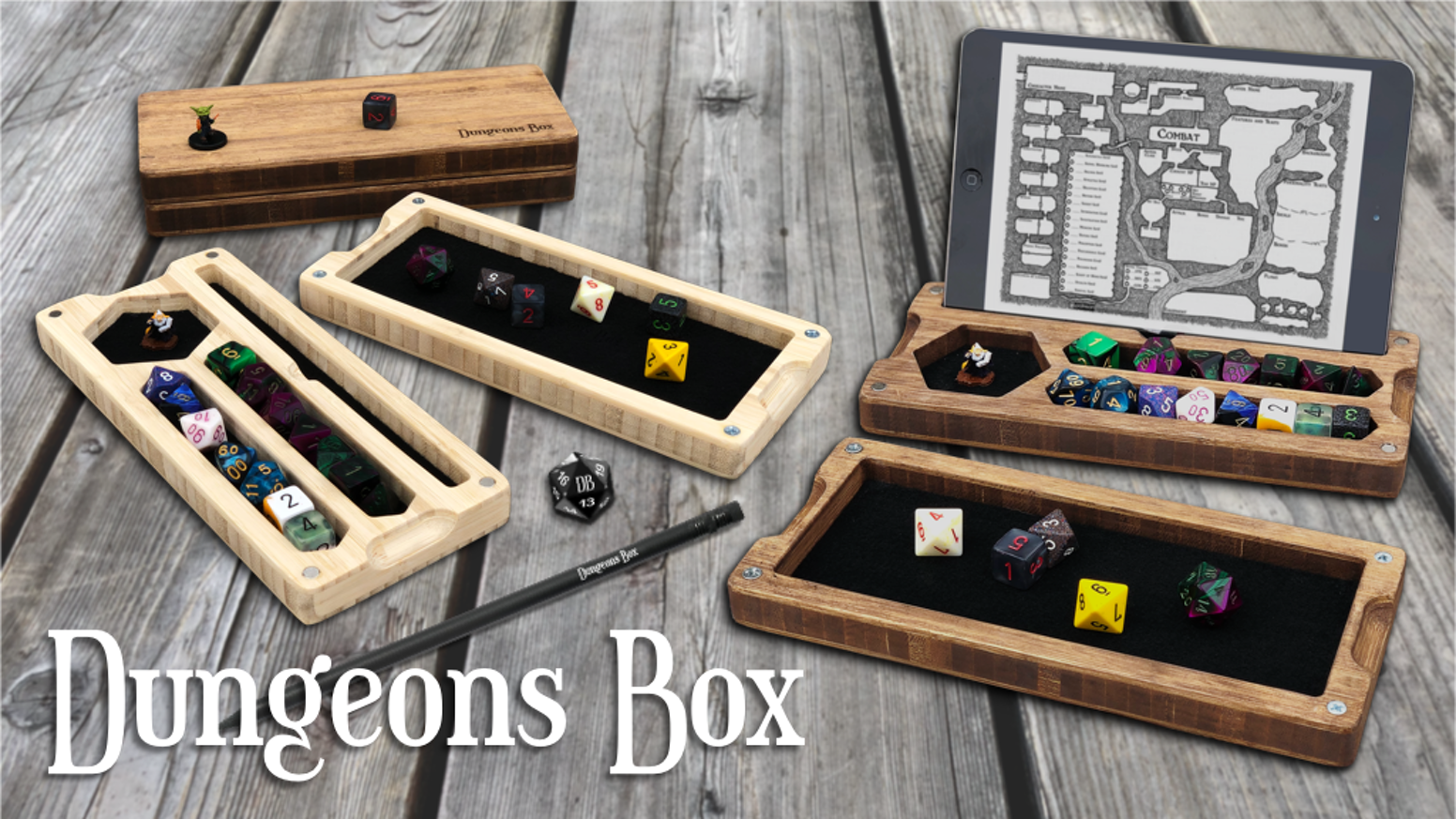 Your all-in-one RPG travel case. Including storage for dice, miniatures, a built-in rolling tray, pencil slot &  phone/tablet stand.