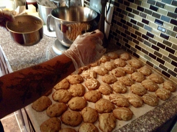 Icing the carrot cookies